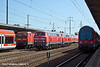 10th Jun 11:   All red at Shonefeld Flughafen.  Rabbits 218 831-6 and 218 839-9 run West on the through line. On the right is a regional train to Berlin  Belzig,143 225-1 will follow after with an Airport Express to Nuaen.  The DMU will follow the Rabbits to Potsdam.  Very much a grab shot as I was walking from the far end of the station when the light turned green and this was as far as I before the pair appeared.  Who mentioned Sod's Law?