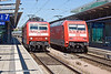 4th Jun 11:  120 146-6 runs through platform 7 at Rostock as 101 068-9 waits to depart with the 11.49 to Stratsund