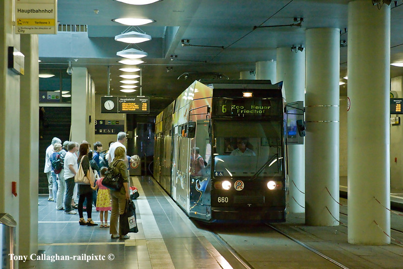 4th Jun 11:  Tram 660 on Route 6 runs into the under ground station at Rostock Hbf