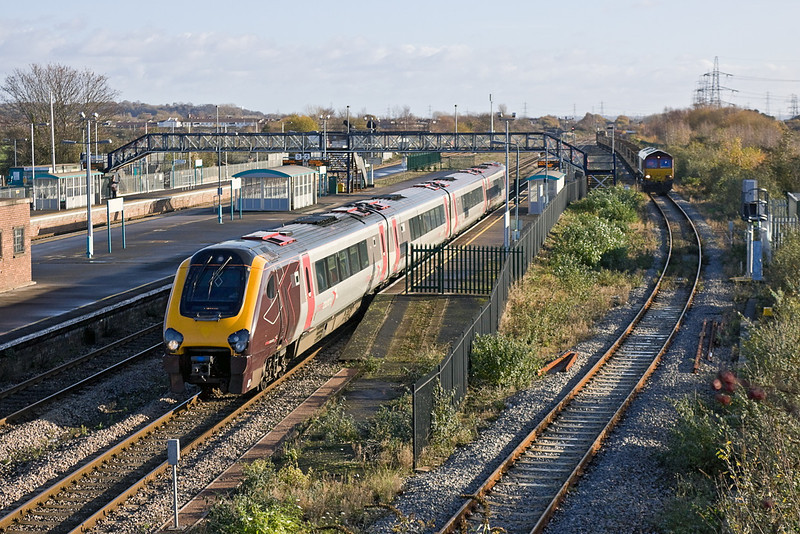 27th Nov 11:  Cross Country Voyager 220024 races through Severn Tunnel Junction.  The 1V46 the 09.12 from Birmingham New Street to Plymouth  will call next at Newport and then reverse and go via the tunnel  to the West of England