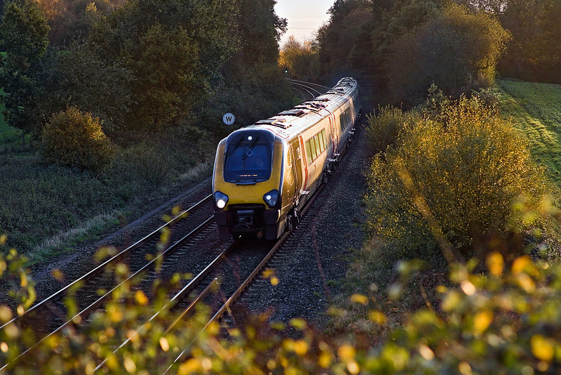 9th Nov  11:  Just catching the last of the afternoon light at Silchester is 1M58 the 14.45 Cross Country service from Bournemouth to Manchester Piccadilly