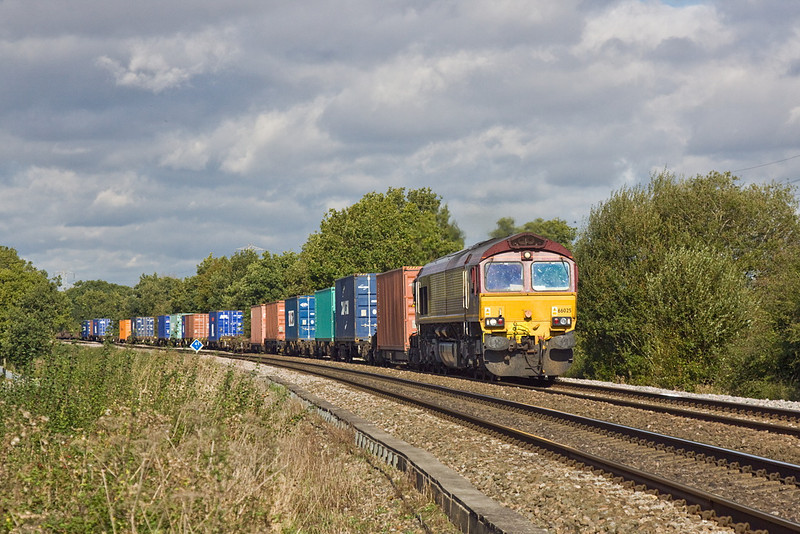 12th Oct 11:  66025 on the point of the 11.14 from Hams Hall to Southampton (4O21) runs through Grazeley