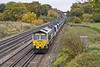 31st Oct 11:  66553 on the point of the Neasden to Wool sand empties 6O49, pictured a Totters Lane near Hook