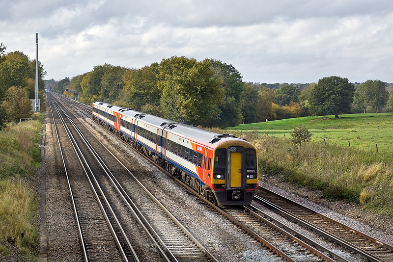 31st Oct 11:  In a very fortunate patch of sun 159005 & 159011 are  hurrying to Waterloo with 1L36 the 09.26 South West Trains service from Exeter St Davids.  Captured on the rise from Hook to Winchfield