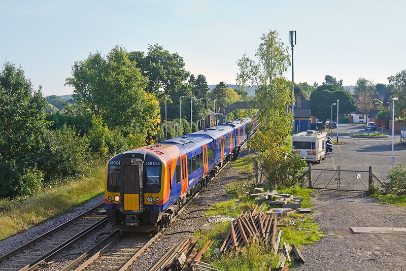 1st Oct 11:  South West Trains Desiro 450034 leaves Bagshot for Ascot.  2N48 left Guildford at 15.00