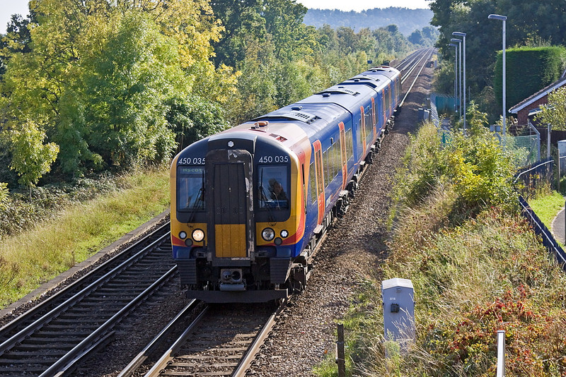 1st Oct 11:  450035 arrives at Bagshot with the 14.30 service from Guildford to Ascot