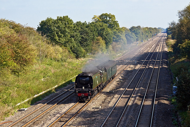 """14th Oct 11;  34067 potters along the Down Relief through Ruscombe while working 5Z91 from Southall to Swanage.  It will return to London on Saturday at the head of the return leg of """"The Swanage Belle"""""""