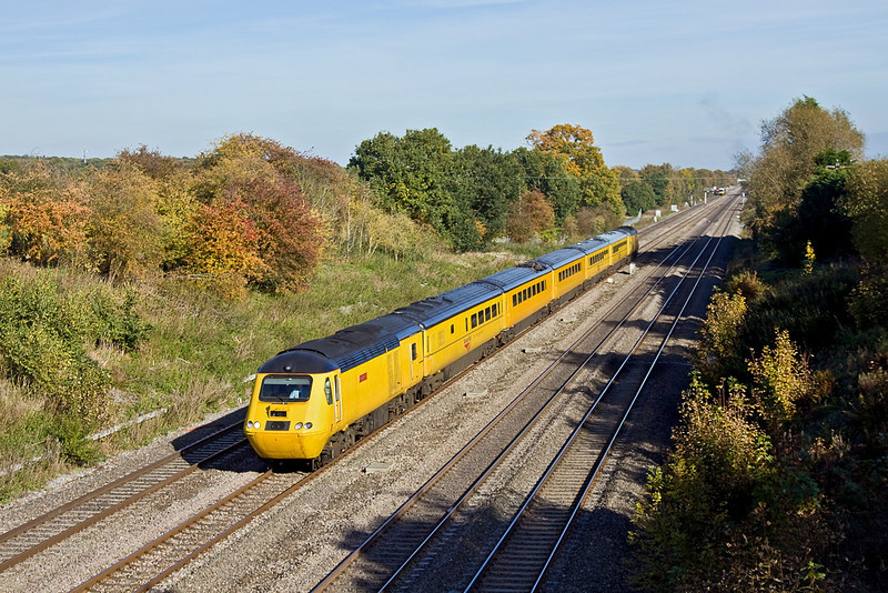 """28th Oct 11:  With 43082 """"John Armitt"""" now leading the NMT heads for it's base at Derby via Oxford and Birmingham.  Pictured from the Southbury Lane bridge in Ruscombe"""
