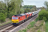 11th Apr 11:  Matchiing in colour 60011 & 59206 are working 6C76 from Acton to Whatley.  Captured here from the Burghfield Road bridge in Reading
