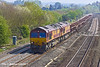 19th Apr 11:  66096 & 66030 on the front of 6V27 departmental from Eastleigh to Hinksey at Lower Basildon