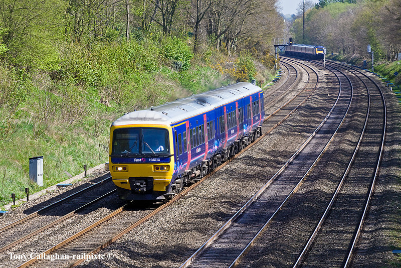 9th Apr 11:  166220 is working 2N32 the 11.27 from Paddington to Oxford. Seen in the Sonning Cutting from the bridge in Duffield Road