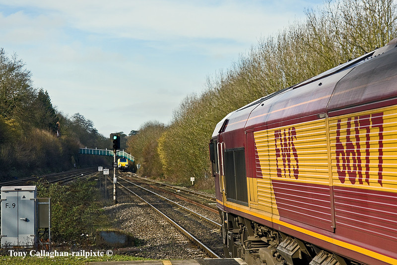 24th Feb 11:  The intended shot was of Ugly Betty 3 on the Wentloog BUT!!!  66177 working 4M66 Intermodal from Southampton to Birch Coppice had other ideas !