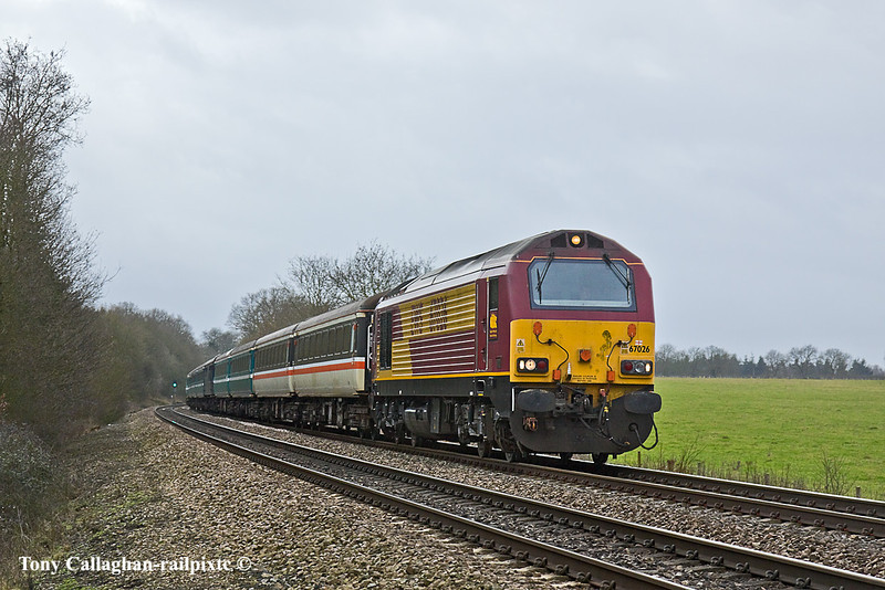 4th Feb 11:  Taking the ECS from Eastleigh to Paddington for a Rugby special to Cardiff in the evening is 67026. Pictured from Danes Crossing  near Reading, 67021 brought up the rear