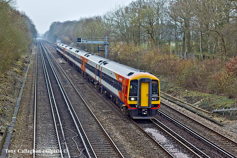 21st Feb 11:  158882 leads on 1L48 the 12.26 from Exeter to Waterloo. Pictured from Ashmoor lane in Old Basing