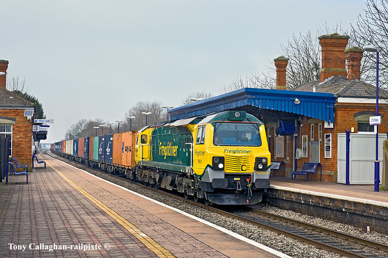 17th Feb 11:  Charging through Cholsey is 70003 with 4O51 from Cardiff Wentloog to Southampton