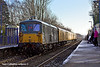 5th Jan 11:  Running through Sandhurst Station are 73107+73138 with the day's 1Q38 from Selhurst to Selhurst via Reading