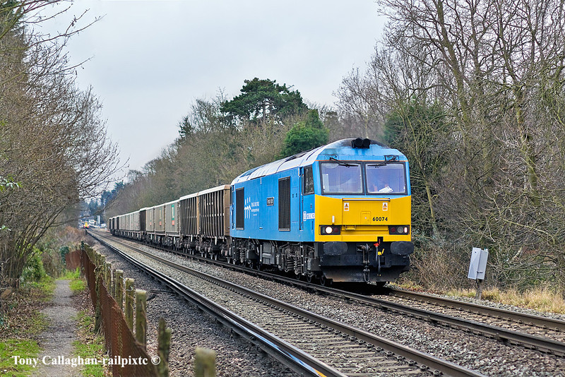 """27th Jan 11:  Climbing the hill away from Sunningdale towards Ascot is 60074 """"Teanage Spirit"""" with empty MRL boxes returning to Whatley from Sevington"""