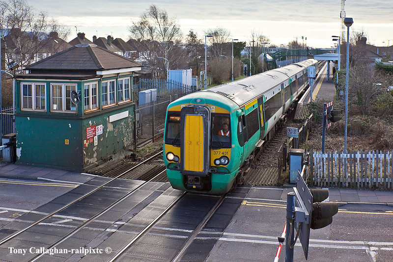 16th Jan 11:  377431 leaves Hampden Park on a  Brighton to Ore service