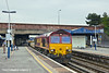 21st Jul 11:  66171 works west through Southampton Central with the afternoon Departmental from Eastleigh to Westbury