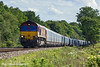 20th May 11:  With 66080 on the point 4M52  Empty car transprters from Southampton Eastern Docks to Castle Bromwich charges north through Grazely
