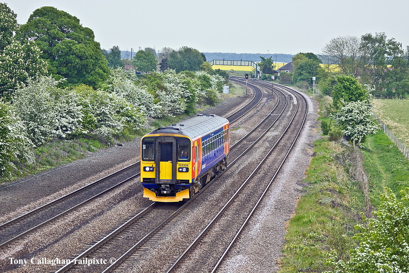 5th May 11:  153326 forming 2T48 the 13.52 from Grimsby Town to Newark North Gate hurries through Melton Ross