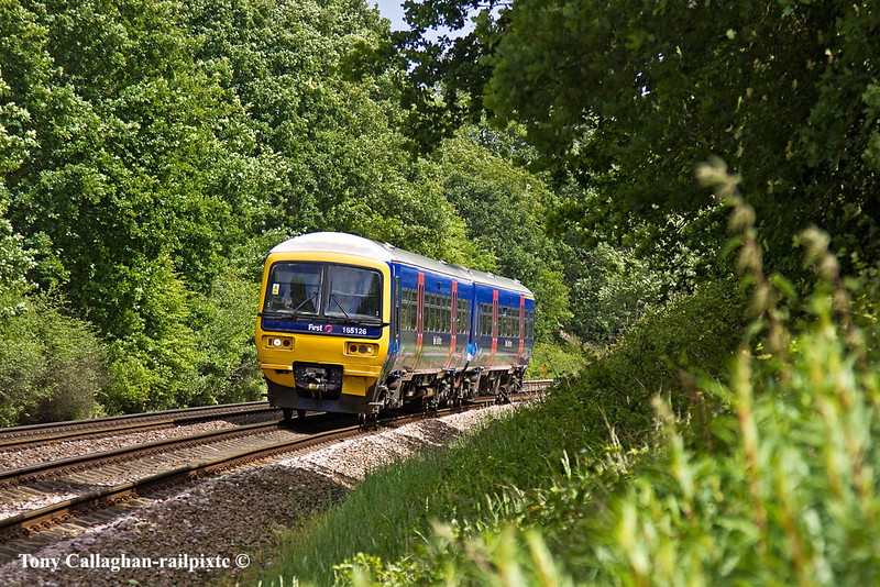 23rd May 11:  2J29 is running 2 minutes late forming the 11.39 from Reading to Basingstoke, in the hands of 165126, slows for the Mortimer stop