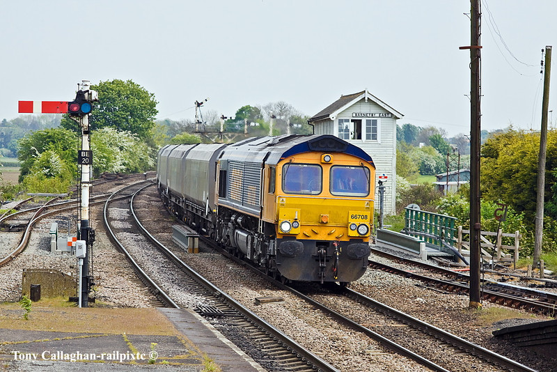 5th May 11:  Passing Barnetby East signal box is 66708 working 6B63 from Immingham to West Burton power station