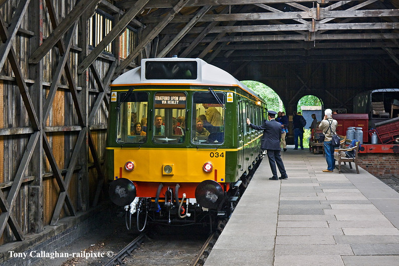 28th May 11:  Alternating with GWR DMU 22 on the branch line was the newly restored Chiltern Railways Bubble Car,  Seen here in the Transfer Shed