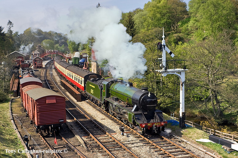 4th May 11:  Southern Railway S15 number 825 departs from Goathland with an afternoon service to Pickerimg