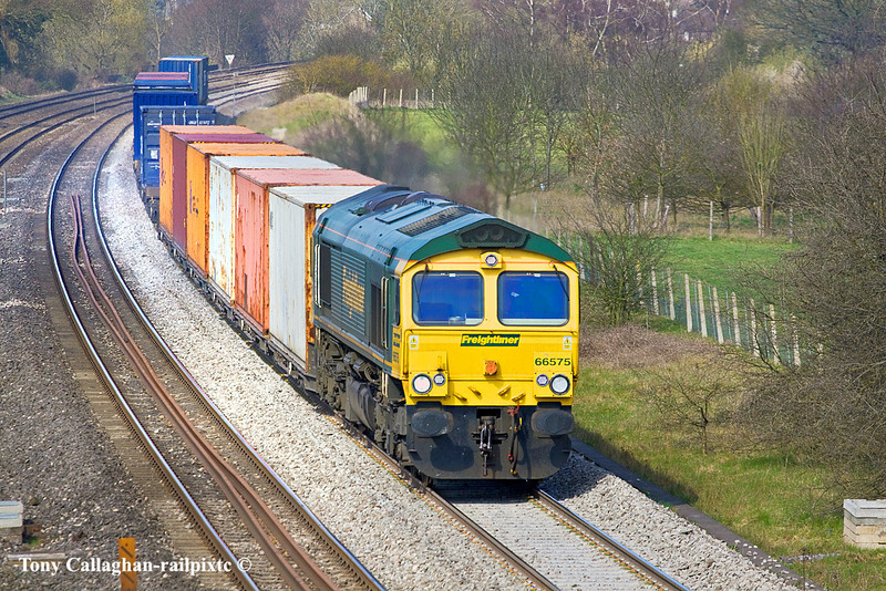 23rd Mar 11:  4O51 is the Wentloog to Southampton service in the hands of 66575 is here running through Lowwer Basildon