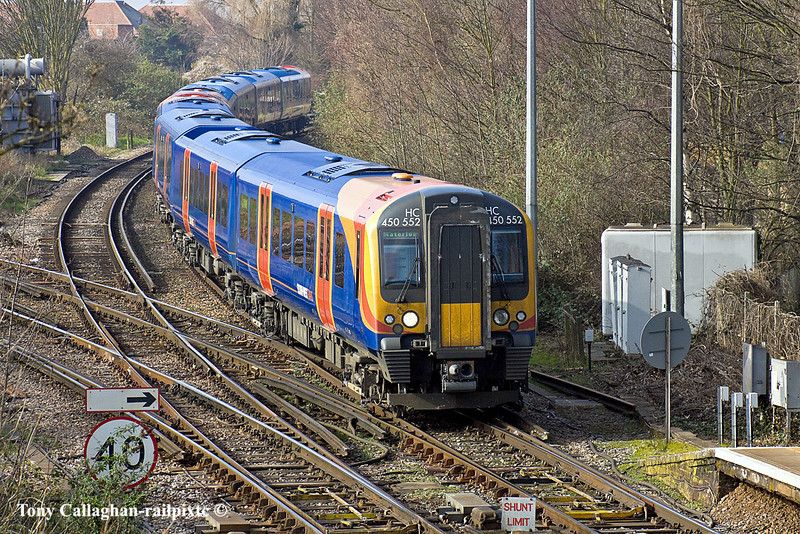 2nd Mar 11:  The 13.23 from Windsor and Eaton Riverside formed of 450552 is captured arriving at Staines