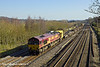 7th Mar 11:  With a decent load in tow the afternoon Eastleigh to Hinksey departmental service runs through Lower Basildon headed by 66070