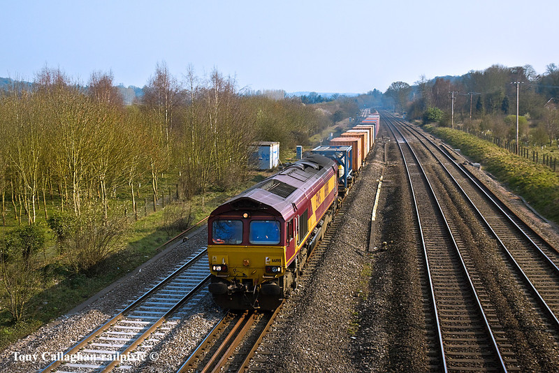 25th Mar 11:  On the site of Goring Water Troughs at Lower Basildon 66198 heads the Marchwood to Didcot MoD service