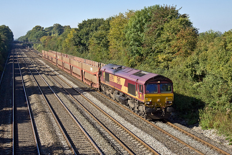 29th Sep 11: The late running Didcot to Dagenham car carriers heads east through Shottesbrooke. 6M50 is in the hands of 66196