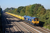 29th Sep 11:  During the first week of the latest round of rubbish clearance from the Bluebell's Imberhorne Cutting 66731 passes Shottesbrooke with the returning empties from Appleford