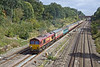 """5th Sep 11:  Carrying a small """"The Marshlander"""" headbord 66142 is on the point of the Monday ECS move from Wembley to Eastleigh.  5O61 returns the stock that was used on weekend rail tours."""