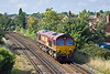 1st Sep 11:  With no traffic for the return 66155 trundles through Egham working as 0Y41 from Eastleigh to Hoo Junction
