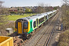 6th Apr 12:  Being dragged across Addlestone Moor by 67011 is London Midland Desiro 350120.  The unit is being moved from Northampton to Northam for maintenance. It should returm on Sunday