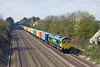 2nd Apr 12:  My first freight train picture from the newly  reopened bridge at Shottesbrooke is of  66543 on the Booseliner from Bristol.  If you are under about 5ft 9ins tall a box to stand on would be a good idea.