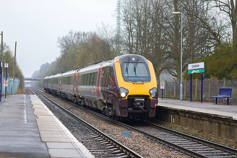 8th Apr 12:  It is  unusual to see a Voyager at Crowthorne so here is 221128 heading to Reading on the 5M30 ECS from Eastleigh.  Shame it was such a cold, dark and damp morning.