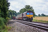 14th Aug 12:  66046 is on the point of 6M48 from Southampton to the Jaguar plant at Halewood.  Pictured at Danes Crossing