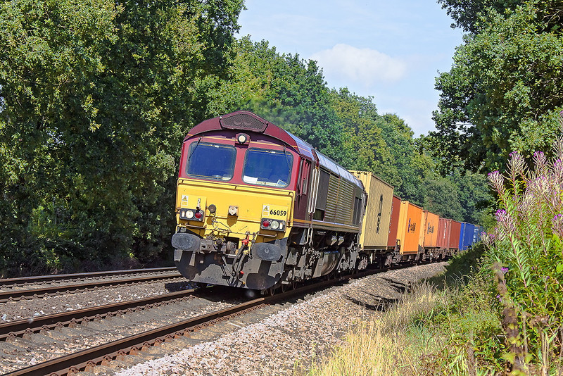 28th Aug 12:  4O23 from Hams Hall to Southampton is today in the hands of 66059.  Captured here at Great Park Crossing near Mortimer