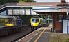 31st Aug 12:  180103 working 1P47 the 12.06 from Worcester Foregate Sreet to Padddington passes the 13.15 Paddington to Cardiff at Tilehurst.