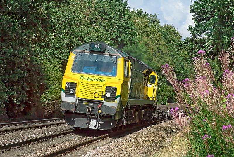 28th Aug 12:  70009 round the curve past Great Park Crossing working STP 4O47 the 13.52 from Milton Siding at Didcot to Southampton Western Docks