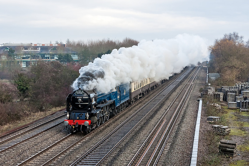 1st Dec 12:  66163 'Tornado' is captured at Breadcroft Lane working from Ipswich to Bristol Temple Meads