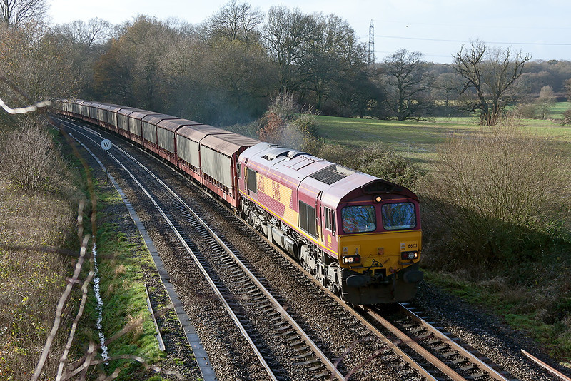 15th Dec 12:  66121 on the point of 6M48 empty Car Carriers from Southampton Eastern Docks to Halewood is charging through Silchester