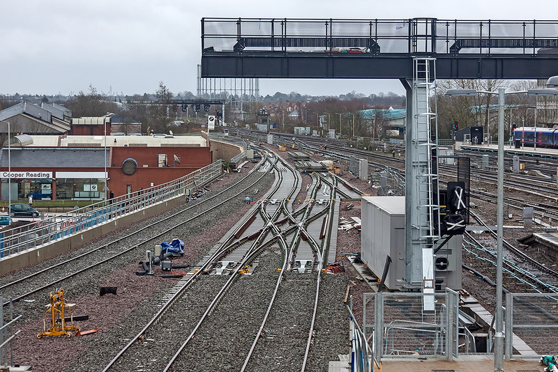 31st Dec 12:  New Crossovers at the east end of Reading station.  Just visible on the left is the turnout with the line that leads down the slope and under the GWML and joins up with the South Western where all the point work and track is already in place.