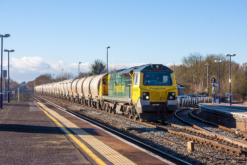 7th Dec 12:  For the 2nd time an Ugly is rostered for 6M91 the Lafarge cement empties from Theale to Earles in the Hope Valley. 70011 is  captured running, 15 minutes late, through Twyford