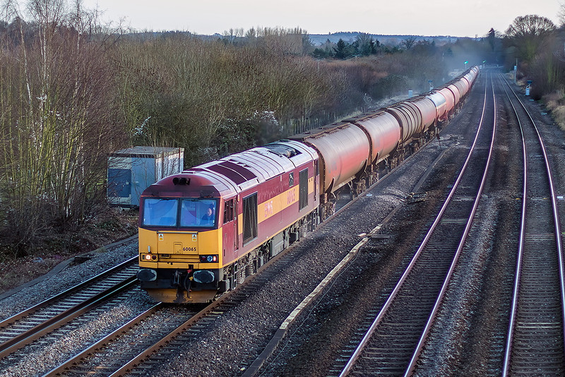 4th Dec 12:  The late running 6B33 Murco empties from Theale to Robeston has 60065 on the point.  Captured at Lower Basildon