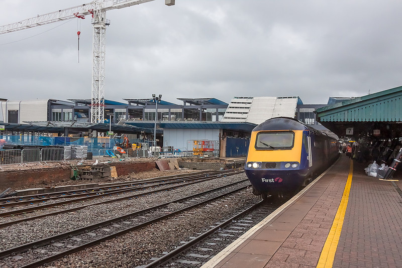31st Dec 12:  The impressive new footbridge spans the tracks at Reading.  The HST is bound for Swansea